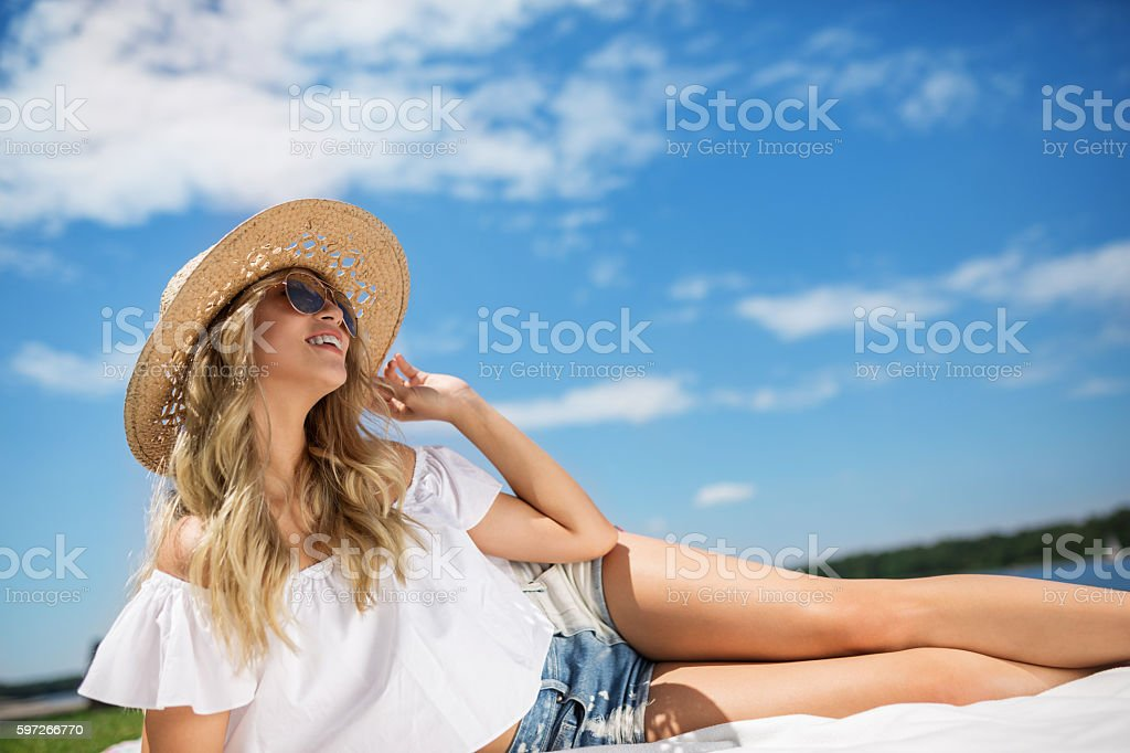 Happiness is relaxing in open air royalty-free stock photo