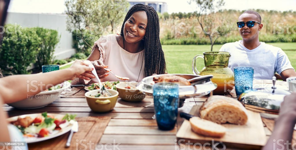 Happiness is sharing Sunday lunch with family stock photo