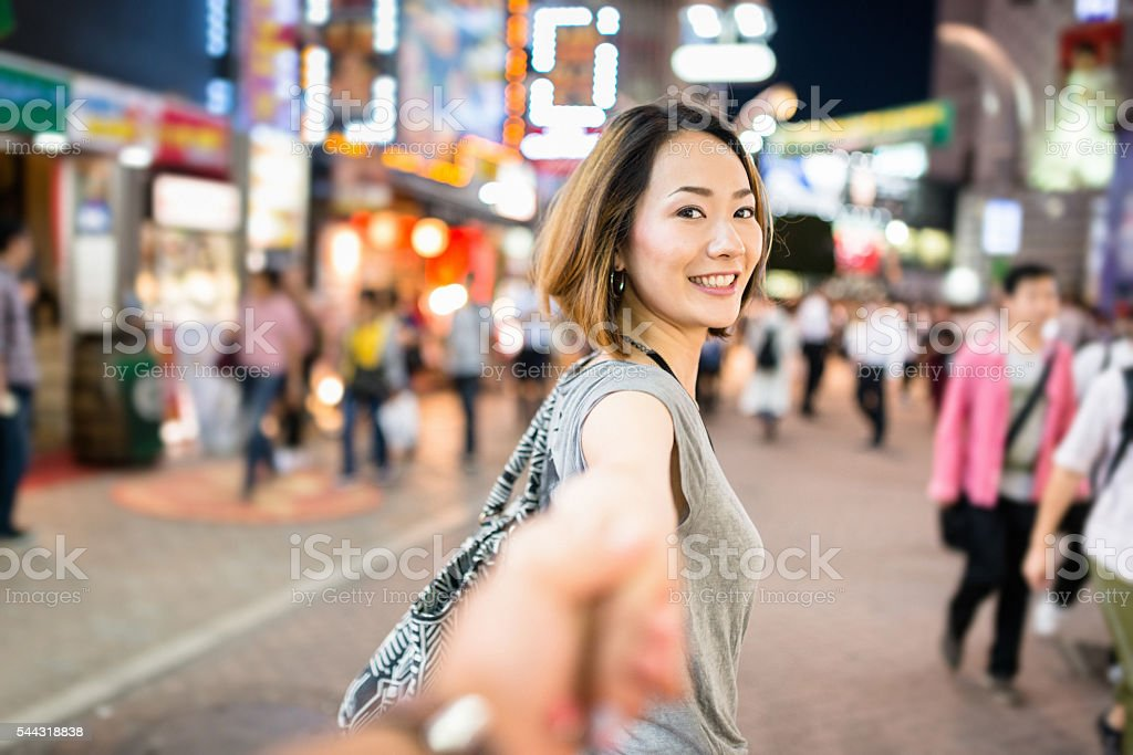 happiness japanese woman in tokyo walking together stock photo