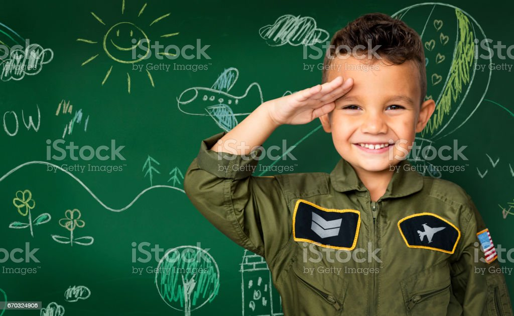 Happiness little boy with pilot dream job smiling stock photo