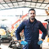 istock happiness mechanic on a garage 587203082