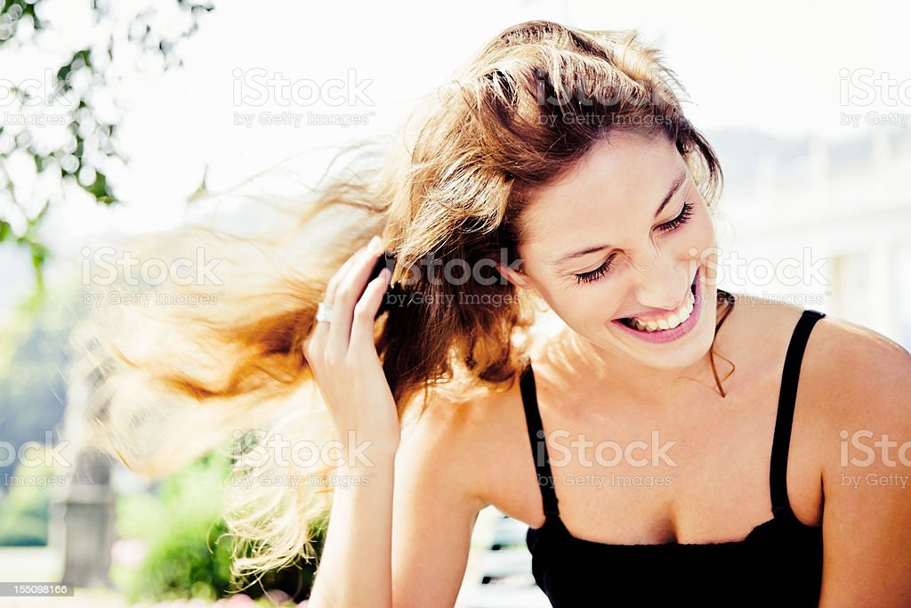 Happiness, Natural Laughing Woman in Summer Park Portrait stock photo