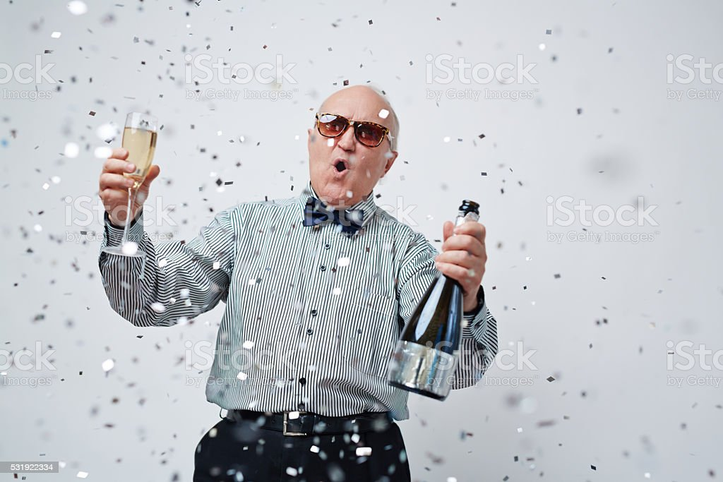 Happiness of senior man stock photo