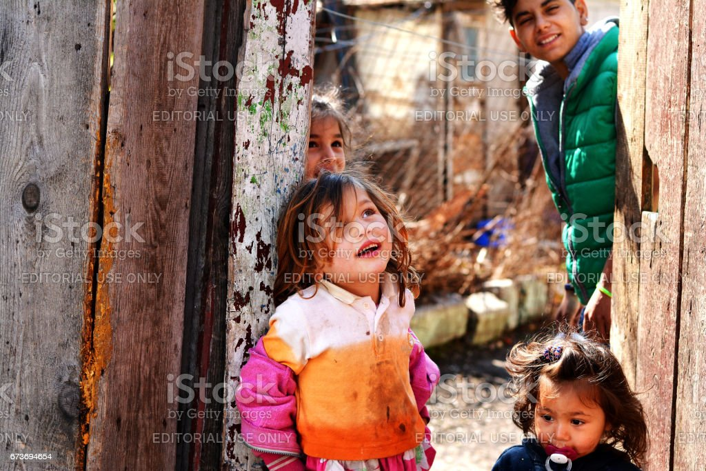 Happiness of the poor children stock photo