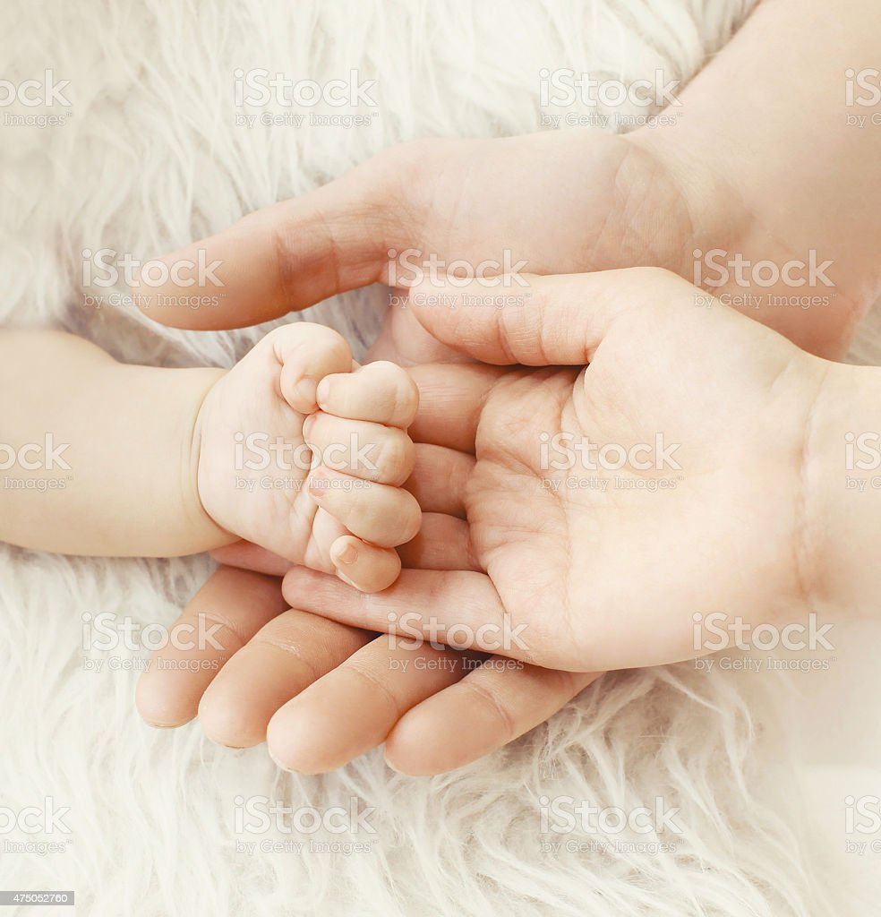 Happiness Parents Closeup Hand Baby In Hands Mother And Father Stock