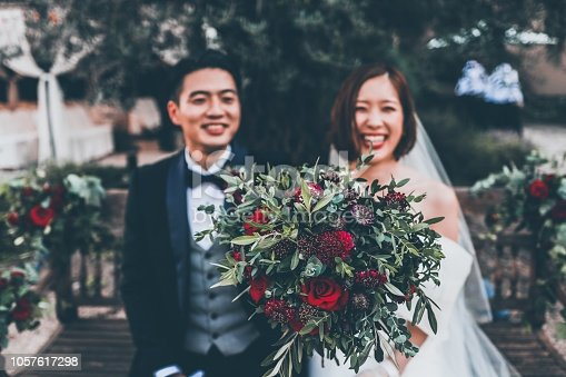 Two Japanese young couple have married