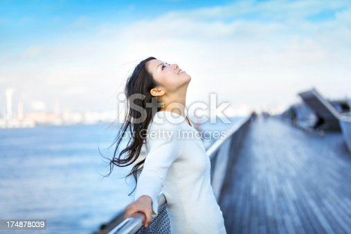 happy beautiful japanese girl looking to blue sky