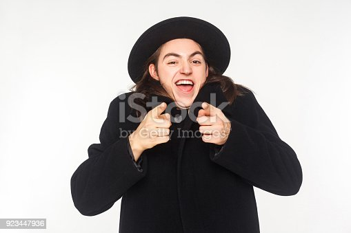istock Happiness pointing finger at camera and have a shocked look. 923447936
