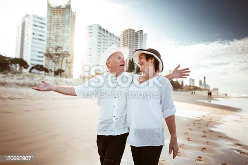 happiness senior couple walking togetherness in the gold coast