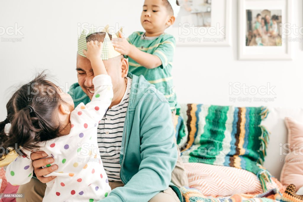 Happiness to be a father stock photo