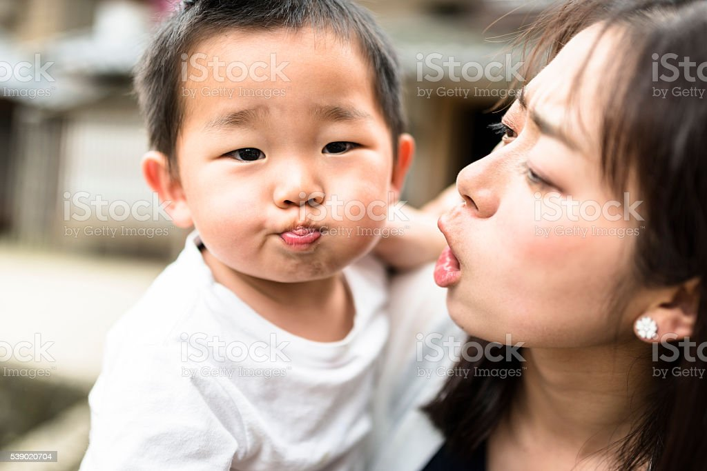 happiness young mother with his son have fun stock photo