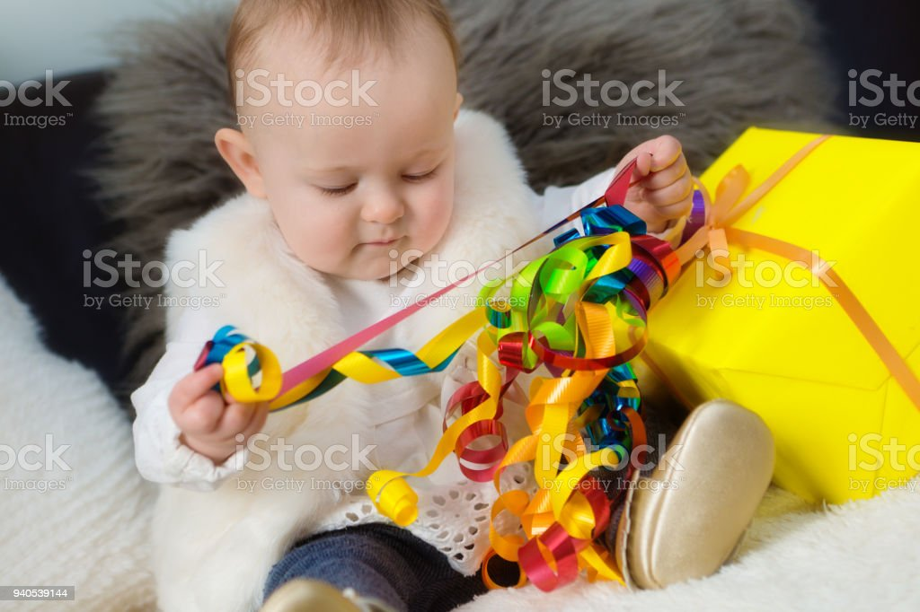 Happy 1 Year Old Baby Birthday Party With Present Royalty Free Stock Photo