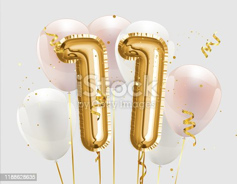 istock Happy 11th birthday gold foil balloon greeting background. 1188628635