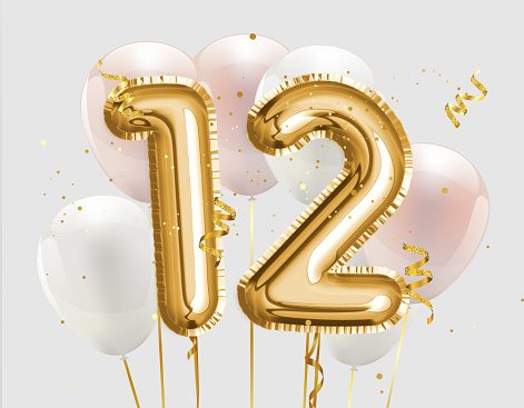Happy 12th birthday gold foil balloon greeting background. 12 years anniversary logo template- 12th celebrating with confetti.