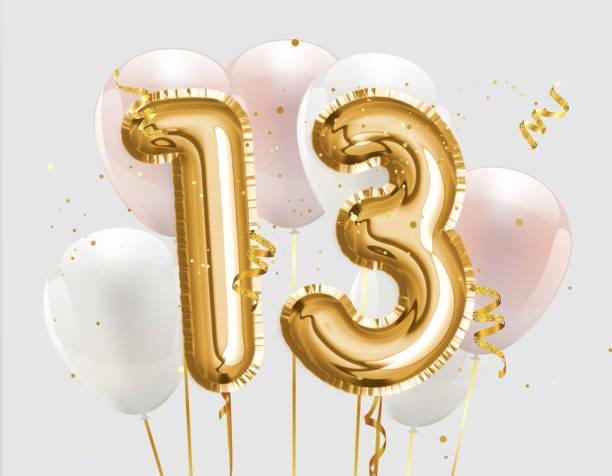alles gute 13. geburtstag goldfolie ballon gruß hintergrund. - number 13 stock-fotos und bilder