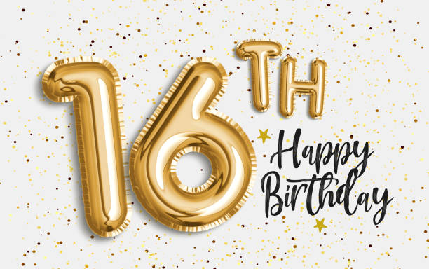 happy 16th birthday gold foil balloon greeting background. - number 16 stock photos and pictures
