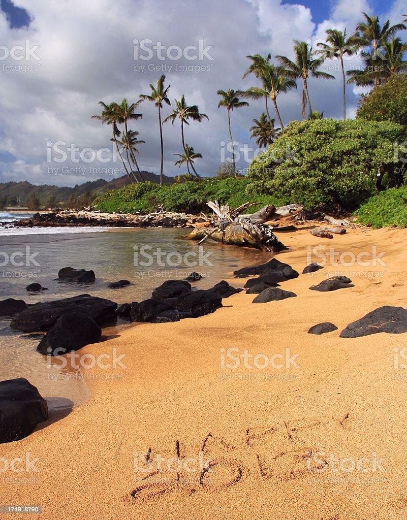 Happy 2013 written on Kauai Hawaii beach sand stock photo