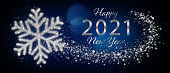 istock Happy 2021 New Year Greeting Card With Silver Snowflake In Abstract Blue Night 1292366597