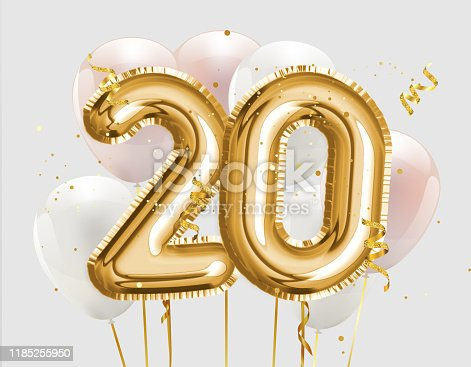 istock Happy 20th birthday gold foil balloon greeting background. 20 years anniversary logo template- 20th celebrating with confetti. 1185255950
