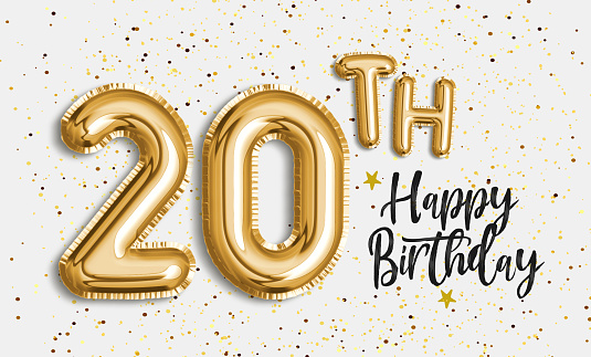 istock Happy 20th birthday gold foil balloon greeting background. 1141736069