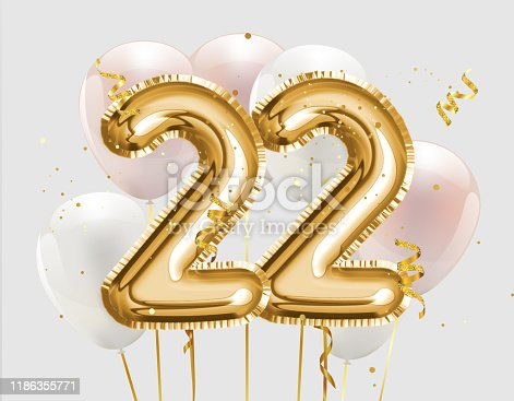 Happy 22th birthday gold foil balloon greeting background. 22 years anniversary logo template- 22th celebrating with confetti. Photo stock.