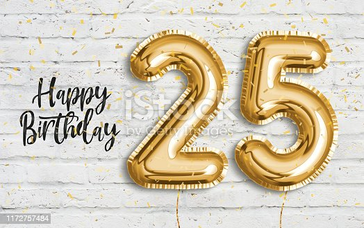 178269167istockphoto Happy 25 th birthday gold foil balloon greeting white wall background. 1172757484