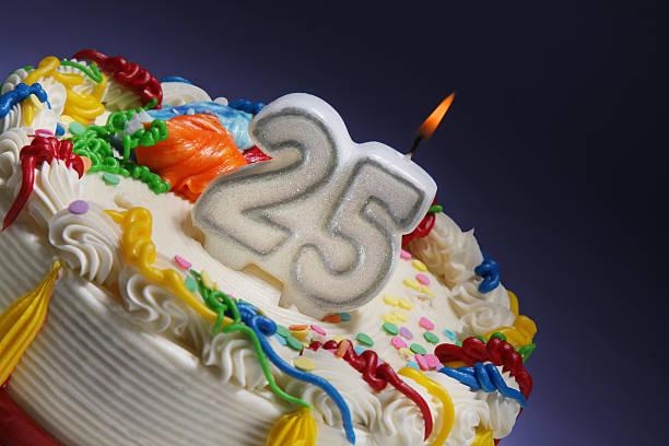 Happy 25th anniversary or birthday stock photo