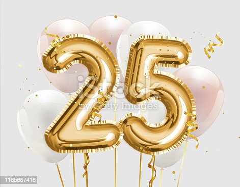 870618752 istock photo Happy 25th birthday gold foil balloon greeting background. 25 years anniversary logo template- 25th celebrating with confetti. 1185667418