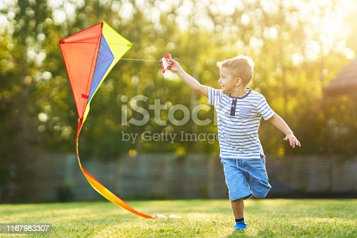 Picture of happy 3 year old boy having fun playing with kite