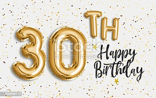 Happy 30th birthday gold foil balloon greeting background. 30 years anniversary logo template- 30th celebrating with confetti. Photo stock.