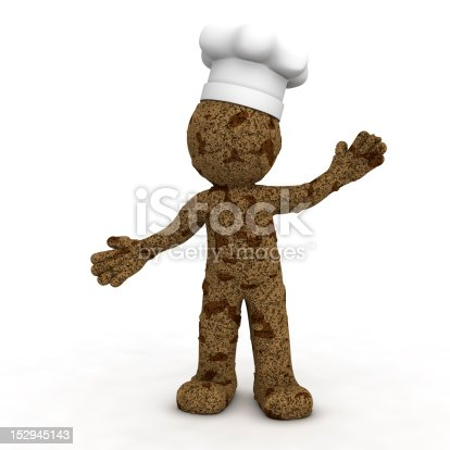 istock Happy 3d baker textured as chocolate cookie 152945143