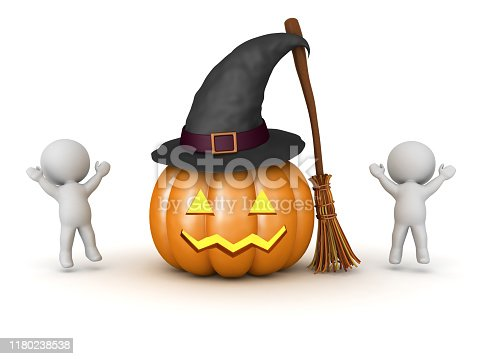 Happy 3D Characters jumping around halloween objects. 3D Rendering isolated on white.