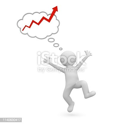 Happy 3d man celebrating and dancing with red rising arrow graph in thought bubble above his head over white background 3D rendering