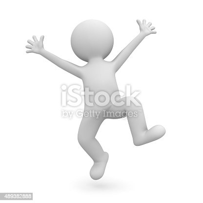 Very happy 3d white man celebrating isolated over white background.