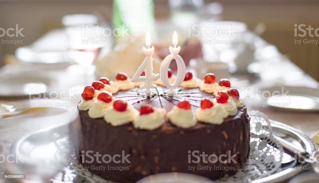 Happy 40th Birthday Cake On Table Stock Photo More Pictures Of