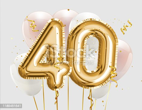 Happy 40th birthday gold foil balloon greeting background. 40 years anniversary logo template- 40th celebrating with confetti. Photo stock.