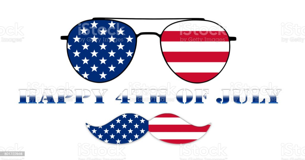 Happy 4th of July. Glasses and Mustache Design of the American Flag Illustration stock photo