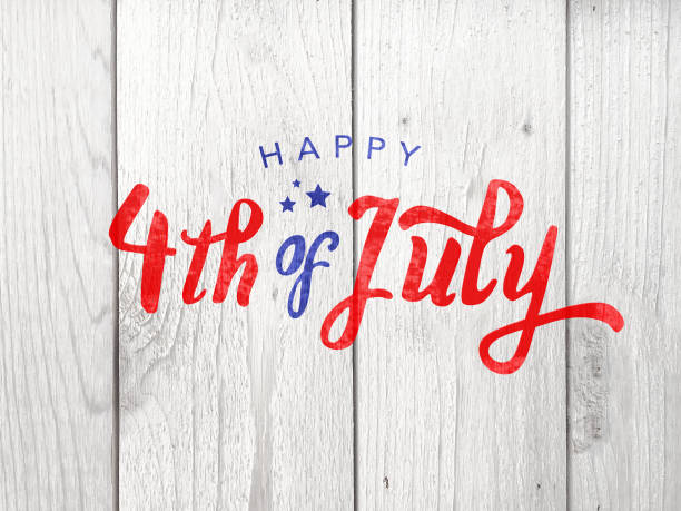 Happy 4th of July Holiday Typography Over Wood Background Happy 4th of July Independence Day Holiday Typography Over Wood Background independence day holiday stock pictures, royalty-free photos & images