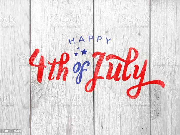 Happy 4th Of July Holiday Typography Over Wood Background Stock Photo - Download Image Now