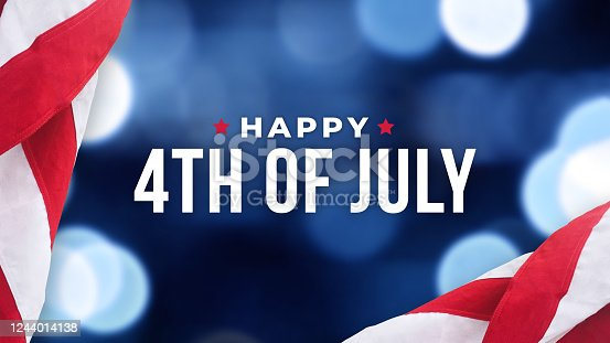istock Happy 4th of July Text Over Blue Lights Texture Background and American Flags 1244014138