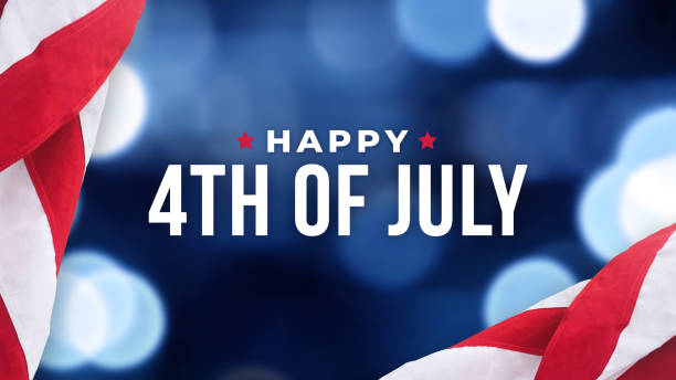 Happy 4th of July Text Over Blue Lights Texture Background and American Flags stock photo