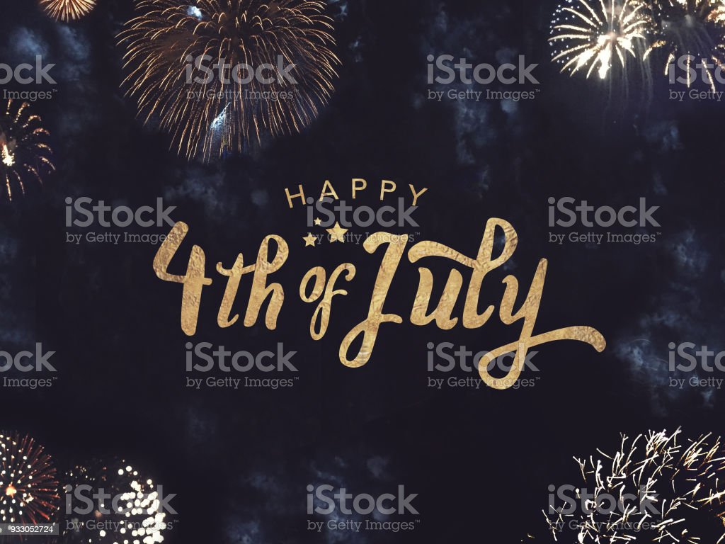 Happy 4th of July Text with Gold Fireworks in Night Sky Happy 4th of July Celebration Text with Festive Gold Fireworks Collage in Night Sky Banner - Sign Stock Photo