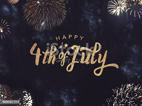 istock Happy 4th of July Text with Gold Fireworks in Night Sky 933052724