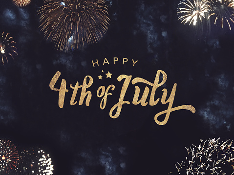 Happy 4th Of July Text With Gold Fireworks In Night Sky Stock Photo - Download Image Now