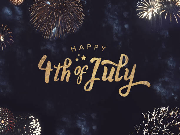 happy 4th of july text with gold fireworks in night sky - independence day stock photos and pictures