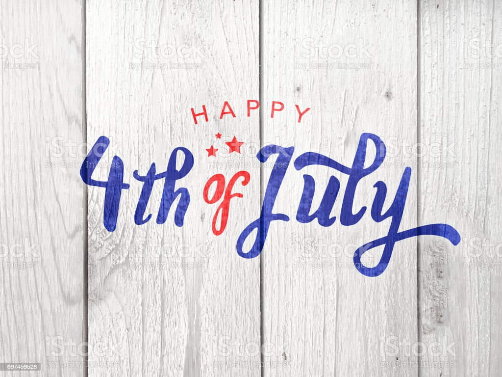 Happy 4th of July Typography Happy 4th of July Typography Over Distressed Wood Background American Culture Stock Photo