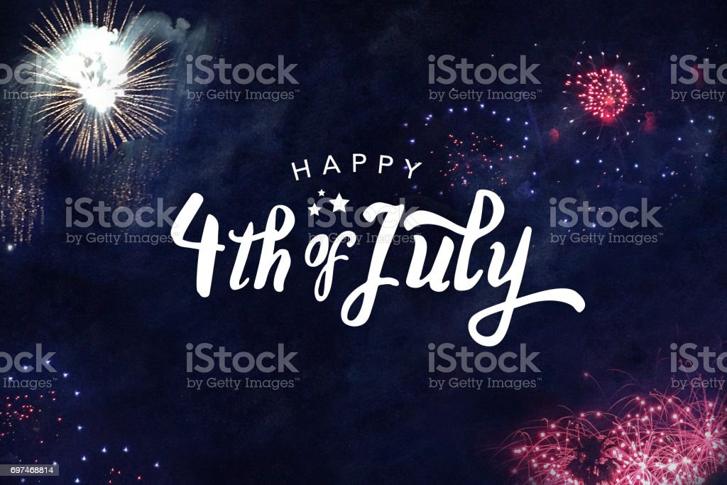 Happy 4th of July Typography Happy 4th of July Typography with Fireworks in Night Sky Beauty Stock Photo