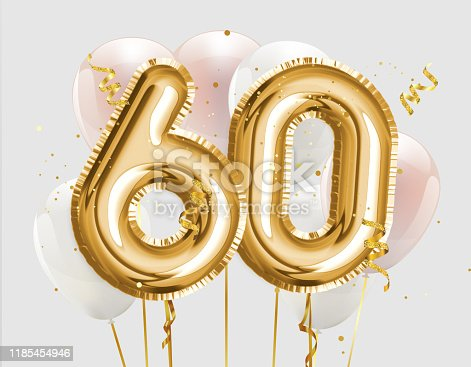 Happy 60th birthday gold foil balloon greeting background. 60 years anniversary logo template- 60th celebrating with confetti. Photo stock.