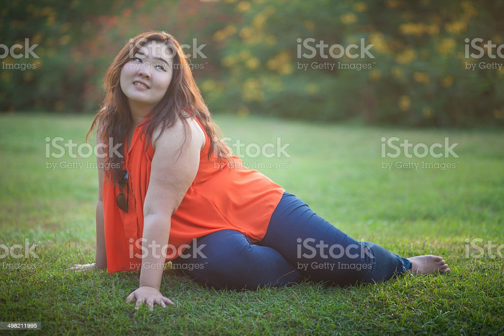 Happy a woman posing outdoor stock photo
