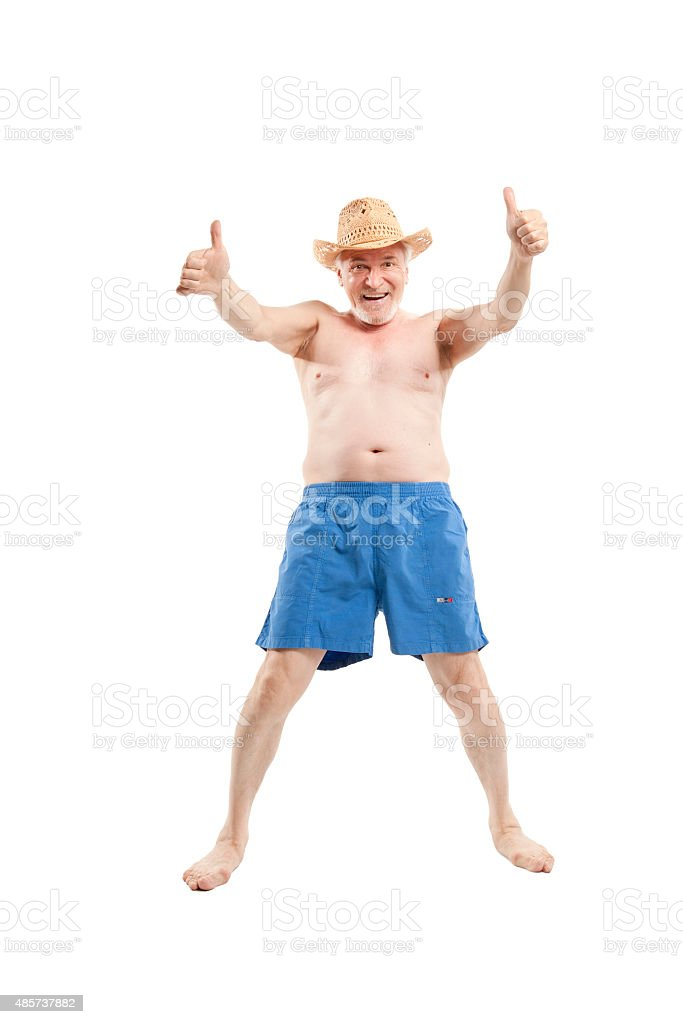 Happy active elderly man stock photo